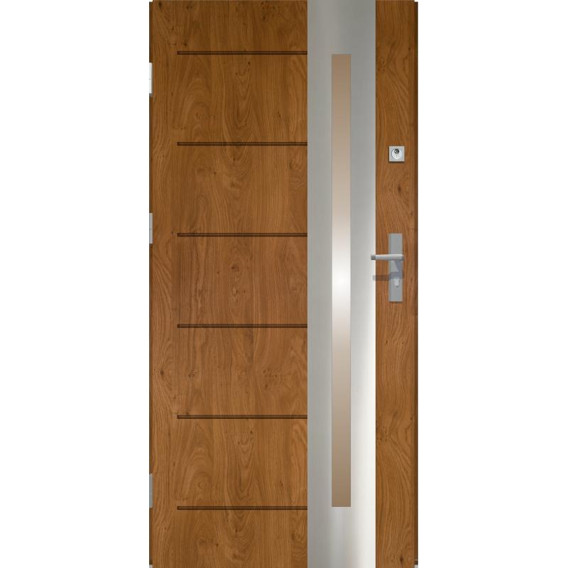 Drzwi zewnętrzne przeszklone RONIN- Złoty Dąb. Produkt POLSKI.