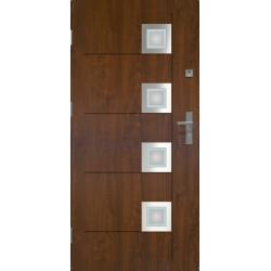 Drzwi zewnetrzne przeszklone KARAT - Ciemny Orzech - INOX. Szklenie Lakomat. Produkt polsk