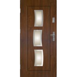 Drzwi zewnętrzne przeszklone STARS - Ciemny Orzech INOX. Produkt POLSKI.