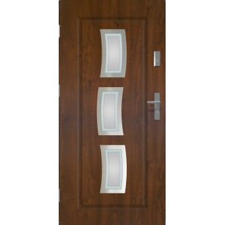 Drzwi zewnetrzne przeszklone STARS - Ciemny Orzech - INOX. Szklenie Lakomat. Produkt polsk