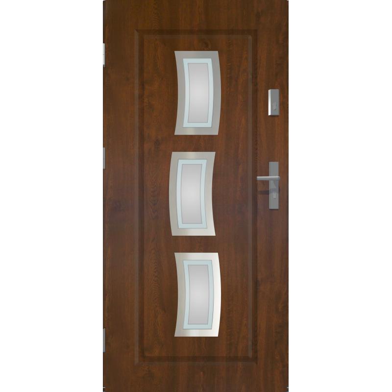 Drzwi zewnętrzne przeszklone STARS - Ciemny Orzech - INOX. Szklenie Lakomat. Produkt polsk