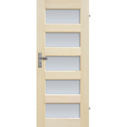 """Drzwi sosnowe, bezseczne - """"Istria"""" z 5 szybami - Seria Fog - Drzwi wewnetrzne drewniane """"RADEX"""