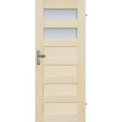 """Drzwi sosnowe, bezseczne - """"Manhattan"""" z 2 szybami - Seria Fog - Drzwi wewnetrzne drewniane """"RADEX"""""""