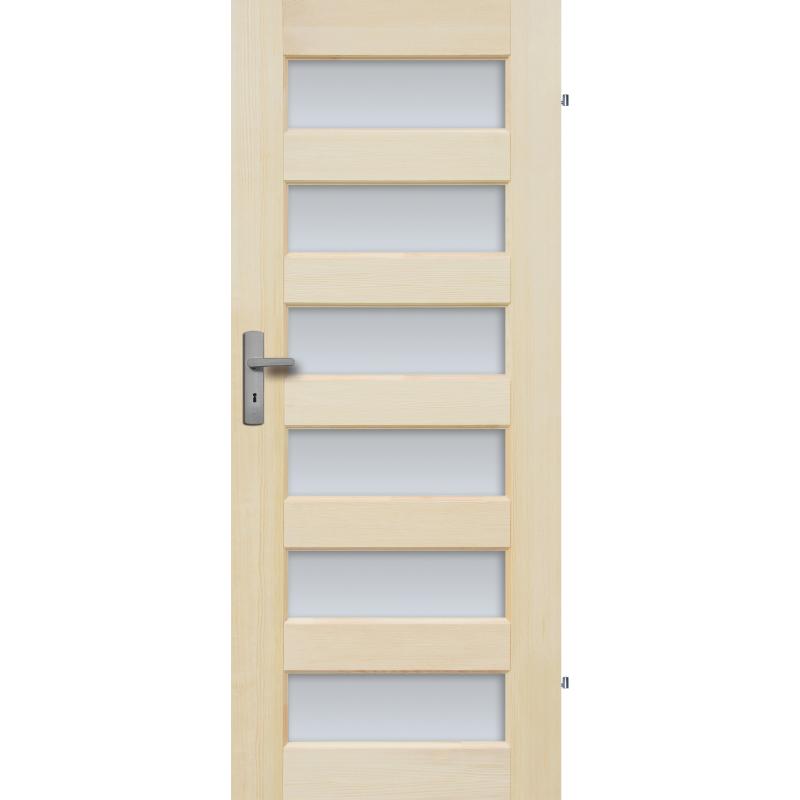 """Drzwi sosnowe, bezseczne - """"Manhattan"""" z 6 szybami - Seria Fog - Drzwi wewnetrzne drewniane """"RADEX"""