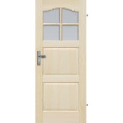 """Drzwi sosnowe, bezseczne - """"Tryplet"""" z 4 szybami - Seria Fog - Drzwi wewnetrzne drewniane """"RADEX""""Drzwi sosnowe, bezseczne - """"B"""