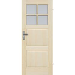 """Drzwi sosnowe, bezseczne - """"Turyn"""" z 4 szybami - Seria Fog - Drzwi wewnetrzne drewniane """"RADEX"""""""