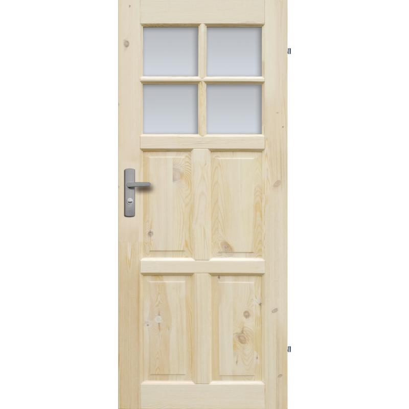 """Drzwi sosnowe, seczne - """"Czapla"""" wersja 4S- Seria Classic - Drzwi wewnetrzne drewniane """"RADEX"""""""