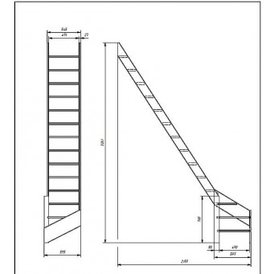 """Drewniane schody młynarskie lewe - """"Kopenhaga 545"""""""