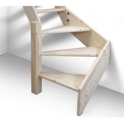 Drewniane schody młynarskie zabiegowe lewe -
