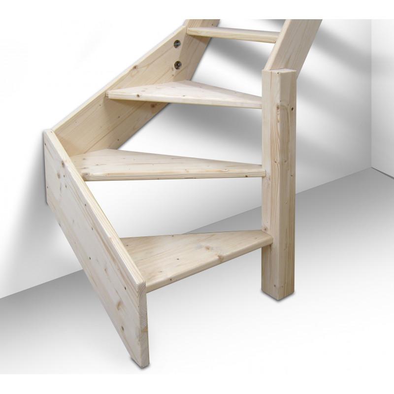 Drewniane schody młynarskie zabiegowe prawe -