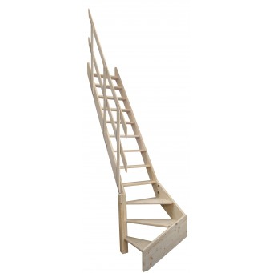"""Drewniane schody młynarskie zabiegowe lewe - """"Kopenhaga 545"""""""