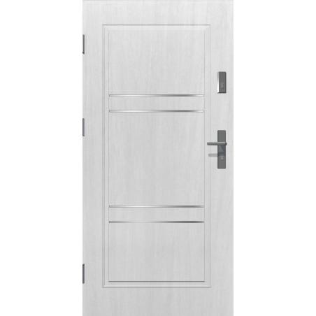 Drzwi zewnętrzne pełne z pasami ozdobnymi APOLLO V2 - Białe. Produkt POLSKI.
