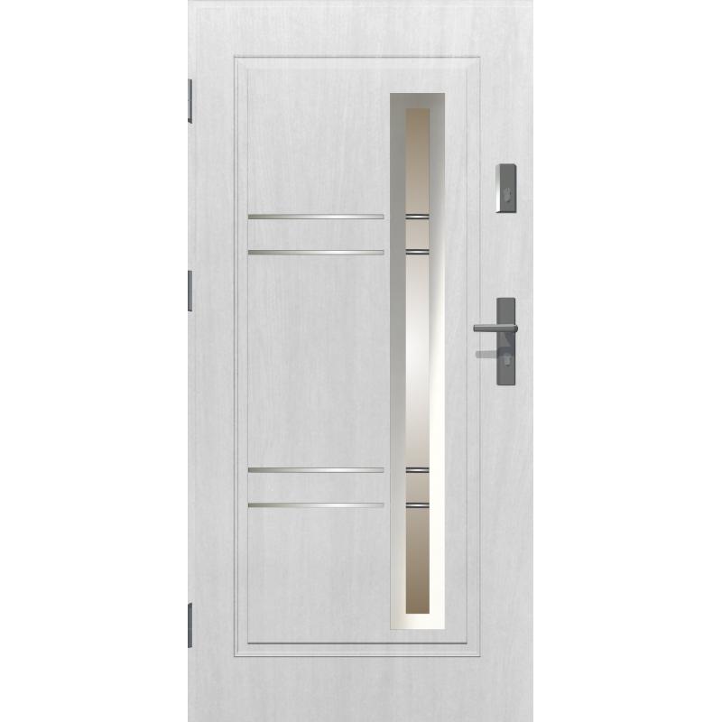 Drzwi zewnętrzne przeszklone APOLLO - Białe. Szklenie Stopsol. Produkt polski.