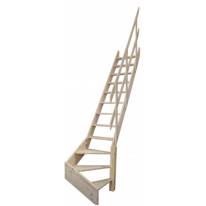 """Drewniane schody mlynarskie zabiegowe prawe - """"Kopenhaga 545"""""""