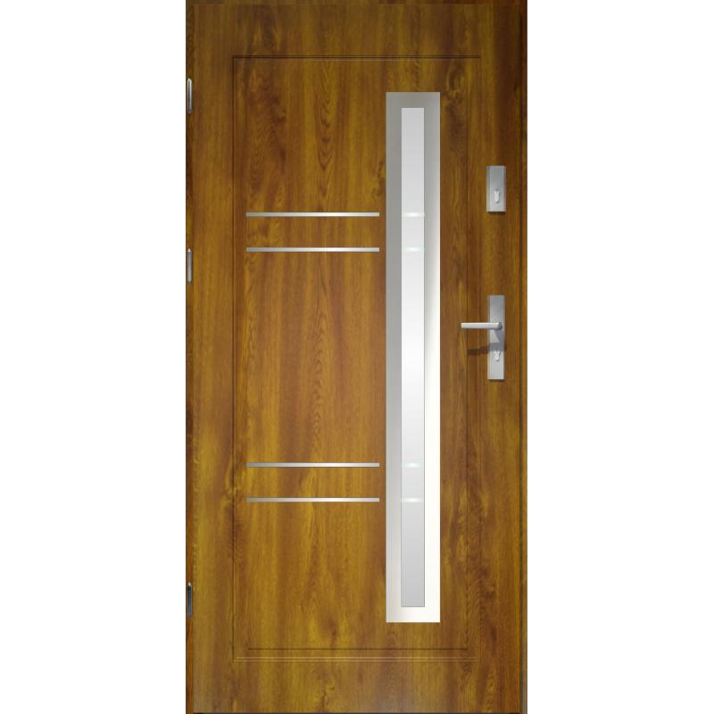 Drzwi zewnętrzne przeszklone APOLLO - Złoty Dąb. Produkt POLSKI.