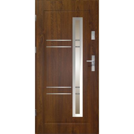 Drzwi zewnętrzne przeszklone APOLLO - Ciemny Orzech. Produkt POLSKI.