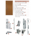 Drewniane drzwi zewnętrzne Andabatus z antabą 800mm - sosnowe - zawartość zestawu okuć.