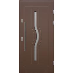 Drewniane drzwi zewnętrzne Herkules - sosnowe z antabą 800 - BRĄZ