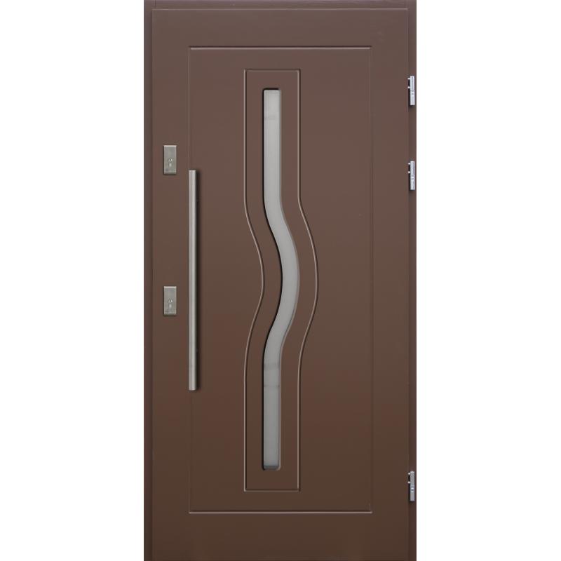 Drewniane drzwi zewnętrzne HERKULES z antabą 800mm - sosnowe - Kolor: BRĄZ