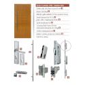 Drewniane drzwi zewnętrzne Andabatus z antabą 1200mm - sosnowe - zawartość zestawu okuć.