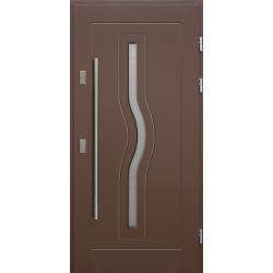 Drewniane drzwi zewnętrzne Herkules - sosnowe z antabą 1200 - BRĄZ