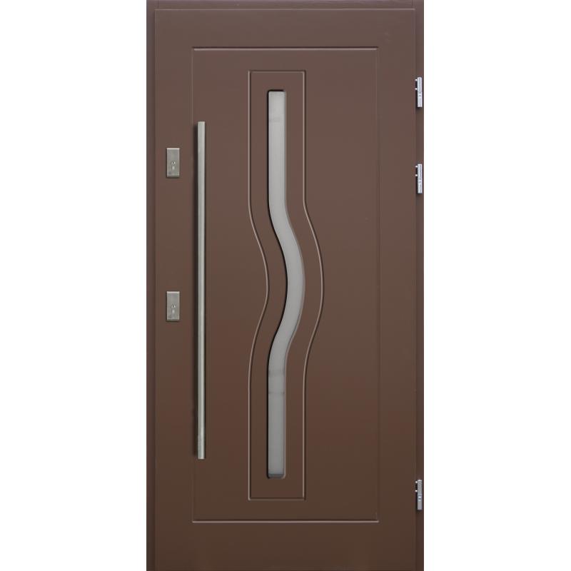Drewniane drzwi zewnętrzne HERKULES z antabą 1200mm - sosnowe - Kolor: BRĄZ