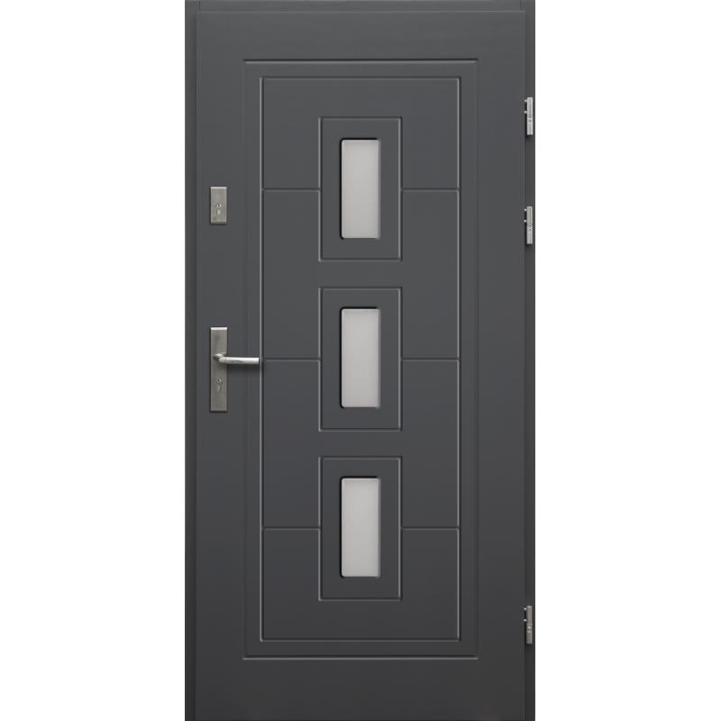 Drewniane drzwi zewnętrzne Klaudiusz z klamką - sosnowe - kolor: ANTRACYT