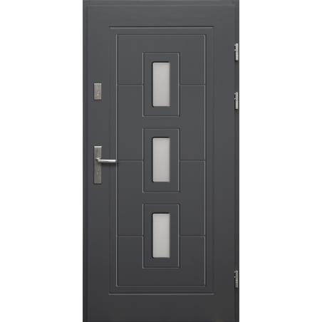 Drewniane drzwi zewnętrzne Klaudiusz - sosnowe z klamką - Antracyt