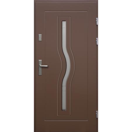 Drewniane drzwi zewnętrzne Herkules - sosnowe z klamką - BRĄZ