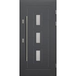 Drewniane drzwi zewnętrzne Klaudiusz - sosnowe z antabą 1200 - Antracyt