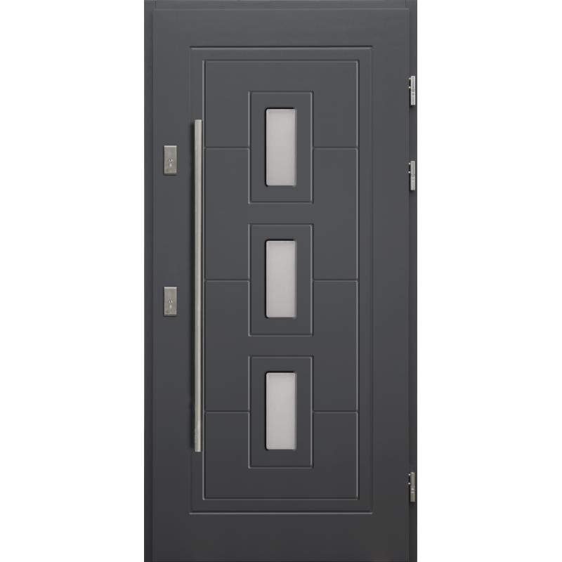 Drewniane drzwi zewnętrzne Klaudiusz z antabą 1200mm - sosnowe - Kolor: ANTRACYT