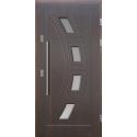 Drewniane drzwi zewnętrzne Komodus z antabą 800mm - sosnowe - Kolor: CIEMNY ORZECH