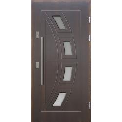 Drewniane drzwi zewnętrzne Komodus - sosnowe z antabą 800 - Ciemny Orzech