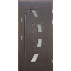 Drewniane drzwi zewnętrzne Komodus - sosnowe z antabą 1200 - Ciemny Orzech