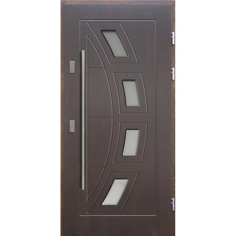 Drewniane drzwi zewnętrzne Komodus z antabą 1200mm - sosnowe - Kolor: CIEMNY ORZECH