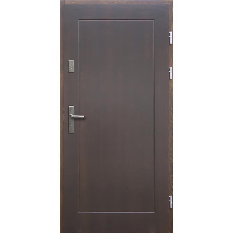Drewniane drzwi zewnętrzne Andabatus z klamką - sosnowe - kolor: CIEMNY ORZECH