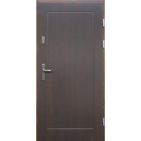 Drewniane drzwi zewnętrzne Andabatus - sosnowe z klamką - CIEMNY ORZECH