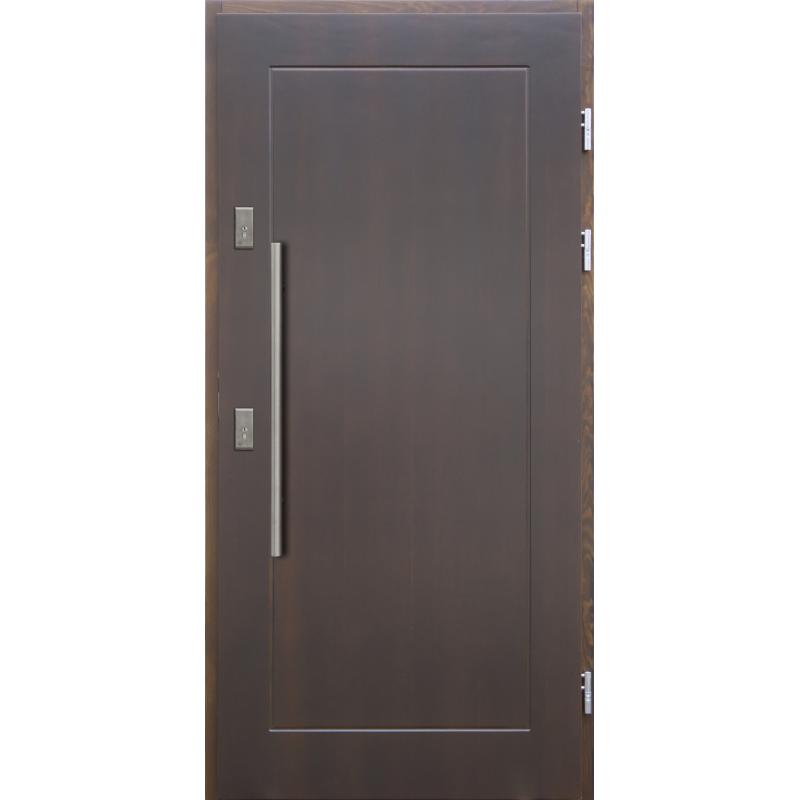 Drewniane drzwi zewnętrzne Andabatus z antabą 800mm - sosnowe - Kolor: CIEMNY ORZECH