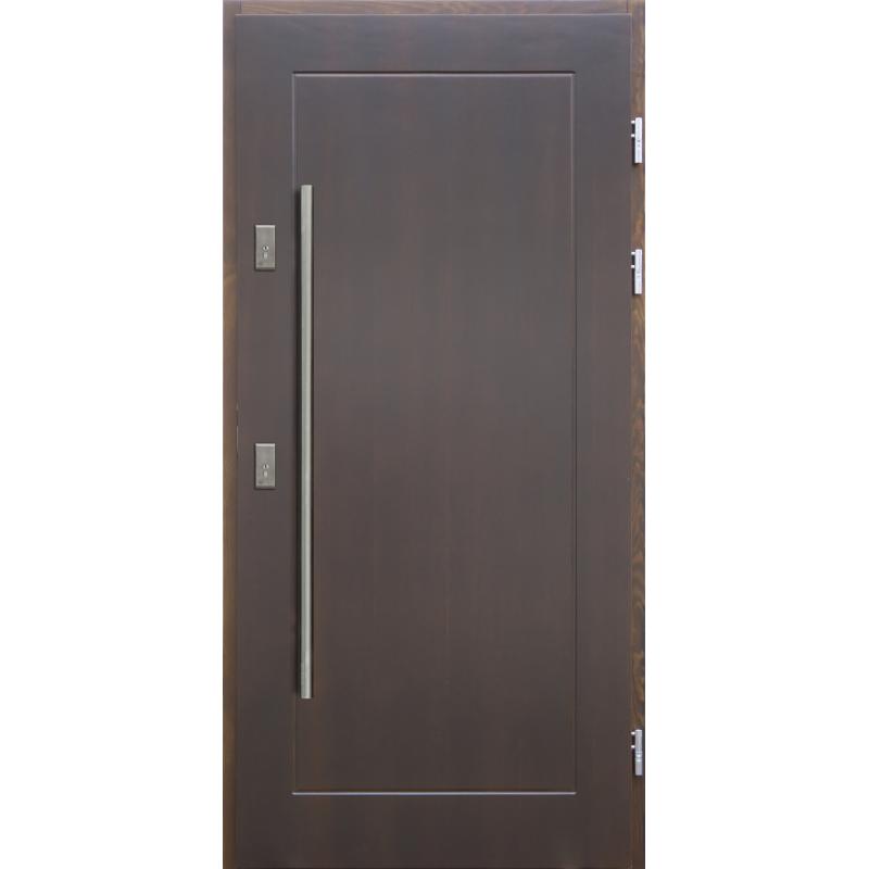 Drewniane drzwi zewnętrzne Andabatus z antabą 1200mm - sosnowe - Kolor: CIEMNY ORZECH