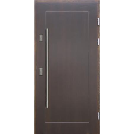 Drewniane drzwi zewnętrzne Andabatus - sosnowe z antabą 1200 - CIEMNY ORZECH
