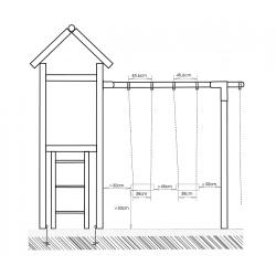 Zestaw Antek - dwie huśtawki, wieża ze zjeżdzalnią - wymiary