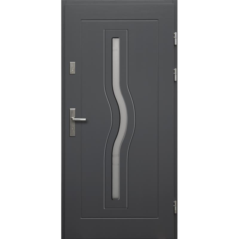Drewniane drzwi zewnętrzne Herkules z klamką - sosnowe - kolor: ANTRACYT