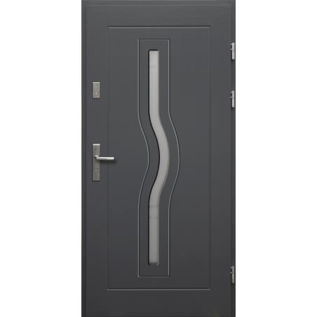 Drewniane drzwi zewnętrzne Herkules - sosnowe z klamką - ANTRACYT