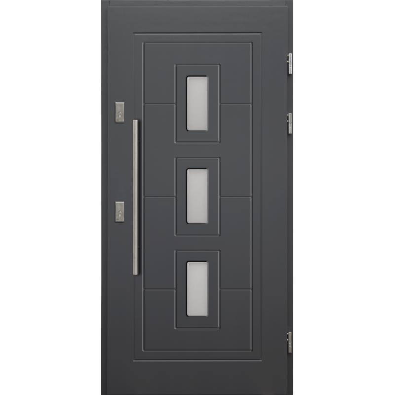 Drewniane drzwi zewnętrzne Klaudiusz z antabą 800mm - sosnowe - Kolor: ANTRACYT