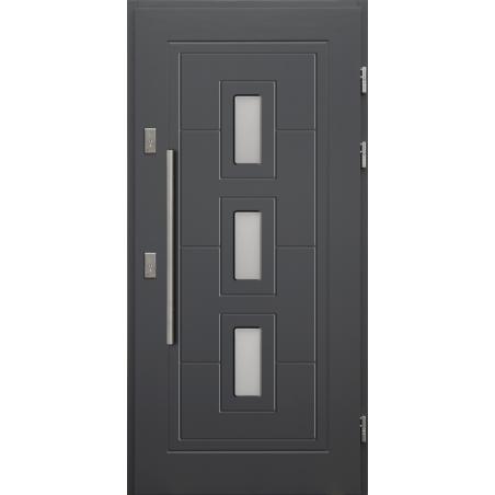 Drewniane drzwi zewnętrzne Klaudiusz - sosnowe z antabą 800 - ANTRACYT
