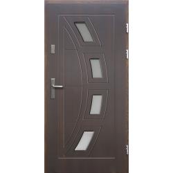 Drewniane drzwi zewnętrzne Komodus - sosnowe z klamką - ciemny orzech