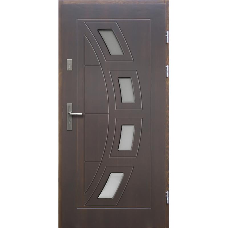 Drewniane drzwi zewnętrzne Komodus z klamką - sosnowe - kolor: CIEMNY ORZECH