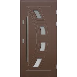 Drewniane drzwi zewnętrzne Komodus - sosnowe z antabą 1200 - BRĄZ