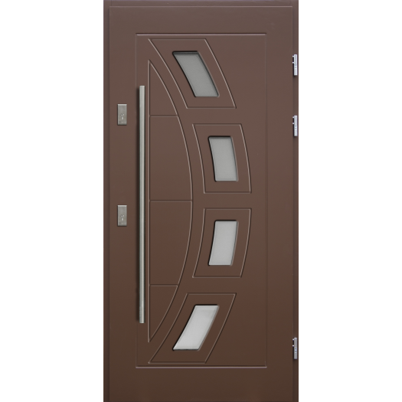 Drewniane drzwi zewnętrzne Komodus z antabą 1200mm - sosnowe - Kolor: BRĄZ