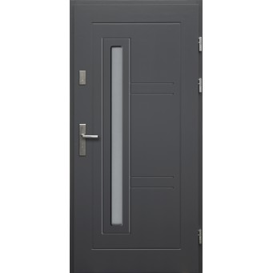 Drewniane drzwi zewnętrzne Spartakus - sosnowe z klamką - ANTRACYT